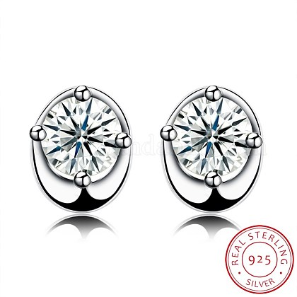 Exquisite 925 Sterling Silver Cubic Zirconia Stud Earrings EJEW-BB20051-1