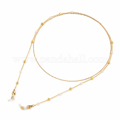 Brass Eyeglasses Chains, Neck Strap Eyeglasses,  CCB Plastic Imitation Pearl Beads, 304 Stainless Steel Lobster Claw Clasps Rubber Loop Ends, Square, Golden, 38.19 inches(97cm) AJEW-EH00104-03