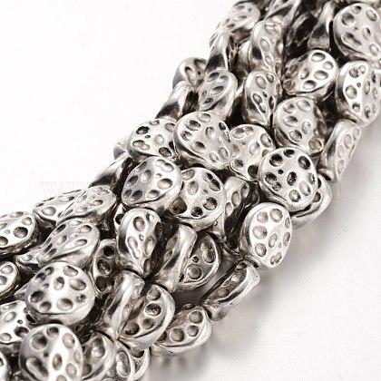 De aleación de estilo tibetano planas hebras de perlas redondasTIBEB-F063-11-RS-1