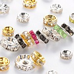 Iron Rhinestone Spacer Beads, Mixed Shape, Mixed Color, 6~10x3~4mm, Hole: 1~2mm