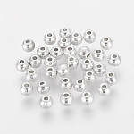 Tibetan Style Spacer Beads, Lead Free & Cadmium Free, Round, Silver Color Plated, about 4mm in diameter, 3.5mm wide, hole: 1.5mm