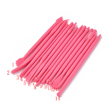 Pottery Sculpting Tool Sets, Plastic Clay Sculpting Tool Kit, Deep Pink, 108~123x3.3~9.5mm; 14pcs/set