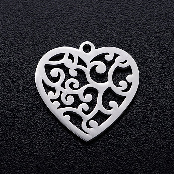 201 Stainless Steel Pendants, Heart with Cirrus, Stainless Steel Color, 15.5x15.5x1mm, Hole: 1.2mm