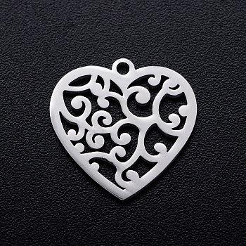 Pendentifs en 201 acier inoxydable, coeur avec cirrus, couleur inoxydable, 15.5x15.5x1mm, Trou: 1.2mm