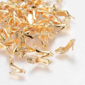 真鍮製ラインストーンペンダント  ニッケルフリー  18KGP本金メッキ  かかとの高い靴  10x4.5x9mm  穴:1mm