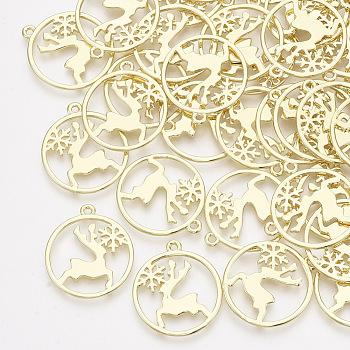 Colgantes de la aleación, Plana redonda con renos de Navidad / ciervo y copo de nieve, la luz de oro, 25x22x1mm, agujero: 1.5 mm