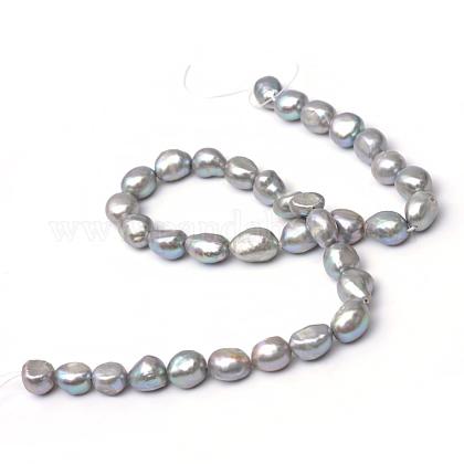 Hebras de perlas ovaladas de agua dulce cultivadas naturalesPEAR-R015-28-1