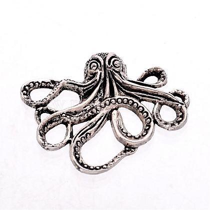 Tibetan Style Alloy Octopus CabochonsTIBEP-A15656-AS-NR-1