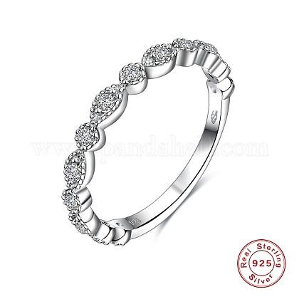 925 Sterling Silver Finger Rings, Cubic Zirconia, Horse Eye, Size 8, Clear, 18mm RJEW-AA00737-S-18