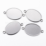 304 Stainless Steel Cabochon Connector Settings, Plain Edge Bezel Cups, Oval, Stainless Steel Color, Tray: 18.5x13.5mm; 24.5x14x1.5mm, Hole: 2mm