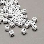 Large Hole Acrylic Letter European Beads, White & Black, Cube with Letter.L, 6x6x6mm, Hole: 4mm; about 2950pcs/500g