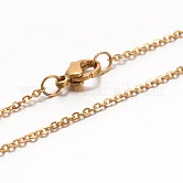 Collares de cadena de cable 304 acero inoxidable, con cierre de pinza, dorado, 17.7