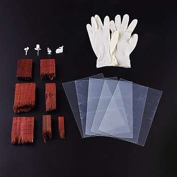 DIY Crystal Epoxy Resin Material Filling, with Unfinished Broken Sandalwood, Crystal Epoxy Resin Material Filling and Disposable Rubber Gloves, Mixed Color, 7pcs/set