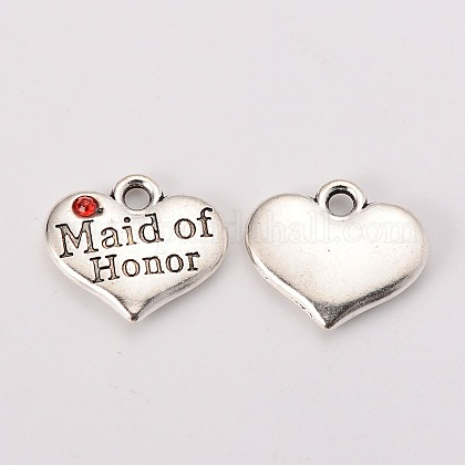 Тема свадьбы античный серебряный тон тибетский стиль сердце с фрейлина горный хрусталь подвескиX-TIBEP-N005-05A-1