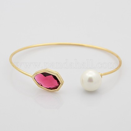 Golden Plated Polygon Brass Glass Cuff BanglesBJEW-J100-04-1