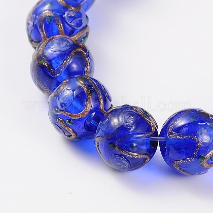 Handmade Gold Sand Lampwork Round Beads LAMP-L042-01H-1