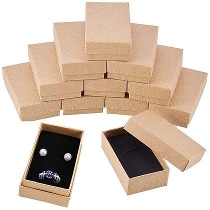Benecreat 24 упаковка ожерелье кольцо коробка 8x5x3 см крафт-коричневый прямоугольник картонная шкатулка для драгоценностей маленькая подарочная коробка для свадебной вечеринки дни рожденияCBOX-BC0004-88-1