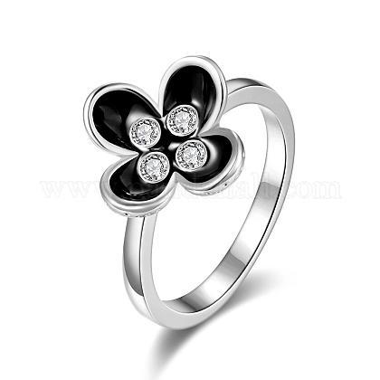 Real Platinum Plated Tin Alloy Czech Rhinestone Flower Rings for WomenRJEW-BB03321-7C-1