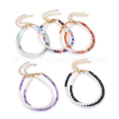 Conjuntos de pulseras de perlas de agua dulce y piedras preciosas naturalesBJEW-JB05145-1
