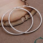 Women Big Earrings Silver Color Plated Brass Hoop Earrings, Silver Color Plated, 2inches(5cm)