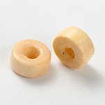 Column Natural Wood Beads, Lead Free, 6x3mm, Hole: 2mm