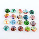 Half Round/Dome Tree Pattern Glass Flatback Cabochons for DIY Projects, Mixed Color, 16x4mm