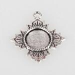 Старинные тибетском стиле сплава сеттинги ободок цветок кулон кабошон, античное серебро, плоско-круглый лоток : 12 мм ; 30x26x2 мм, отверстие : 2 мм