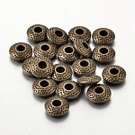 Tibetan Style Alloy Spacer Beads, Lead Free & Cadmium Free, Flat Round, Antique Bronze, 8x3mm, Hole: 2.5mm