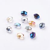 Abalorios de vidrio electrochapado  facetados hexagonales mixtos, medio chapado, 14x12x10mm, agujero: 1 mm