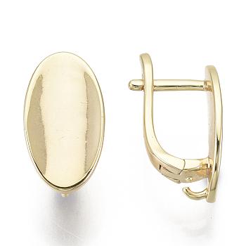 Fornituras de pendiente de latón, con bucle, sin níquel, oval, real 18k chapado en oro, 17x9mm, agujero: 2 mm, pin: 1.5x1 mm
