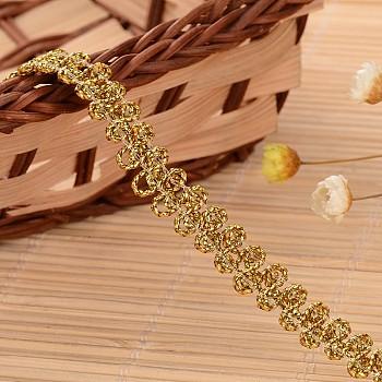 Ruban en nylon avec garniture en dentelle pour la fabrication de bijoux, or, 3/8 pouce (9 mm); environ 50 mètres / rouleau (45.72 m / rouleau)
