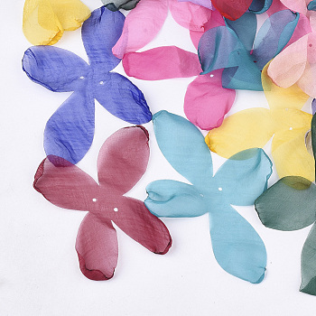 Organza Fabric, For DIY Jewelry Making Crafts, Flower, Mixed Color, 140~150x100~130mm, Hole: 2mm