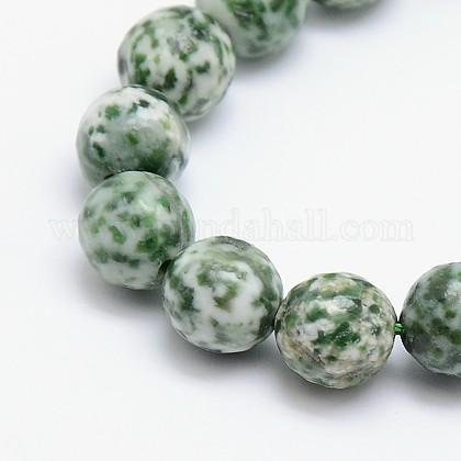 Chapelets de perles en jaspe à pois verts naturelsG-L148-12mm-01-1
