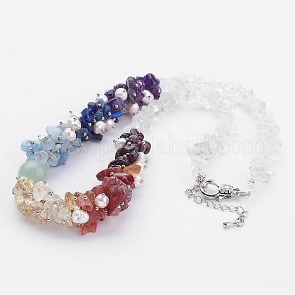 Collares de piedras preciosas chakra mixtaNJEW-JN01713-1