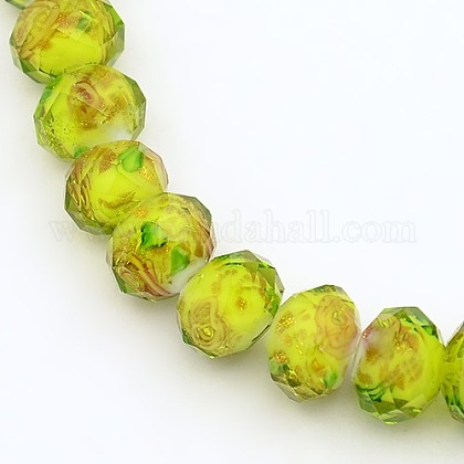 Handmade Gold Sand Lampwork Rondelle Beads StrandsLAMP-L003-A-05-1