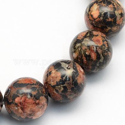 Piel de leopardo natural jaspe cuentas redondas hebrasG-S182-10mm-1