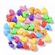 Opaco poliestireno (ps) camas de plástico, corazón, color mezclado, 7x9.5x5mm, Agujero: 3.5 mm; aproximamente 3000 unidades / 500 g
