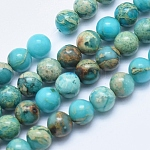 Natural Aqua Terra Jasper Beads Strands, Dyed, Round, 6mm, Hole: 1mm; about 62pcs/strand, 15.7inches(40cm)