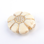 Flower Plating Acrylic Beads, Golden Metal Enlaced, Beige, 20x15.5x6.5mm, Hole: 2mm; about 410pcs/500g