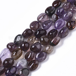 Natural Purple Rutilated Quartz Beads Strands, Tumbled Stone, Nuggets, 8~10x8~10x5~10mm, Hole: 1mm; about 40~43pcs/strand, 15.75''(40cm)