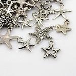 Tibetan Style Alloy Pendants, Star, Antique Silver, 15~36x12~36x1.5~3mm, Hole: 2~4mm