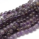 Natural Amethyst Round Bead Strands, Grade BC, 6mm, Hole: 1mm; about 63~65pcs/strand, 15.3inches