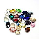 Glass Pointed Back Rhinestone Cabochons, Back Plated, Faceted Oval, Mixed Color, 14x10x5mm; about 336pcs/bag