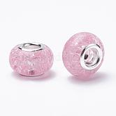 Granos europeos de resina crujiente, Abalorios de grande agujero, Con núcleos de latón plateado color plata, rerondana plana, rosa perla, 13.5~14x8.5~9mm, agujero: 5 mm
