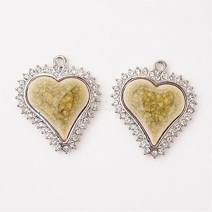 Heart Alloy Porcelain PendantsPALLOY-L192-03P-1