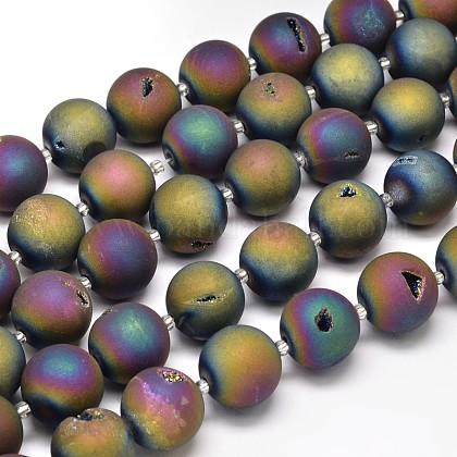 Round Electroplated Natural Druzy Geode Quartz Crystal Beads StrandsG-A143B-16mm-03-1
