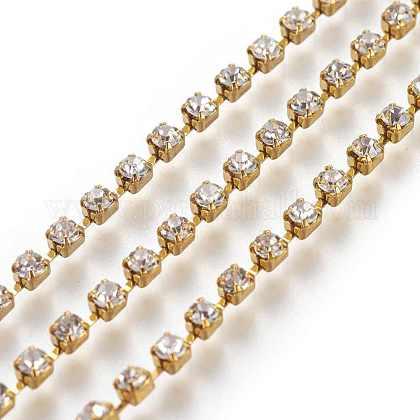 2.5 mm de ancho de grado del tono plateado una prenda decorativa cadenas de cristal de bronce recorte taza del rhinestone strassX-CHC-S8-G-1