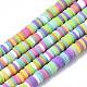 Ручной полимерные нити глины шарик, Heishi бусы, для поделок ювелирных изделий, Диск / плоские круглые, разноцветные, 4x0.5~1 мм, Отверстие : 0.9 мм; около 320~450 шт / нитка, 15.35 дюйм ~ 16.92 дюйма (39~43 см)