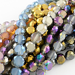Electroplate Glass Bead Strands, Frosted Style, Faceted, Flat Round, Mixed Color, 8x4~5mm; Hole: 1mm, about 72pcs/strand; 21.2inches