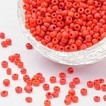 Бисер из стекла , непрозрачные семян цветов, круглые, красные, Размер : диаметром около 3 мм , отверстие: 1 мм, Около 10000 шт / фунт